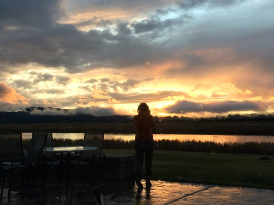 Island Park, ID: Sunset from the deck of the TroutHunter Lodge.