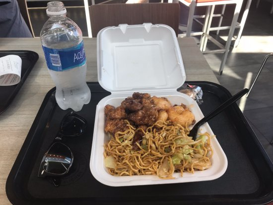 Panda Express: Orange Chicken, Wallnut Shrimp and Chao mein