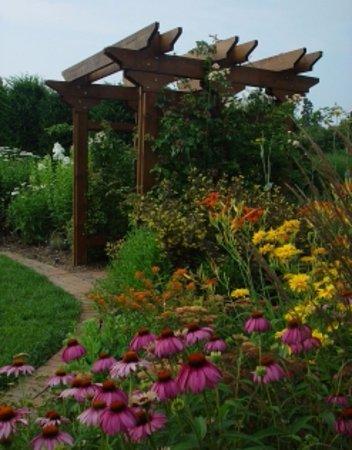Blacksburg, VA: A rainbow of shrubs and perennials comprises the circular Spectrum Border in the front of the ga