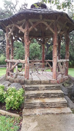 Comfort, TX: Concrete sculpture, work of art that serves as their gazebo. Read about the history on your visi