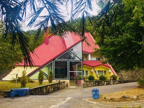 Borjomi-Kharagauli National Park, Georgia: Яркий отель на ухоженной территории.