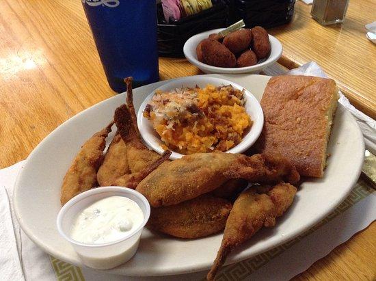 Sting-Ray's Restaurant : Fresh fried Toadfish, sweet potato fluff, hush puppies and cornbread