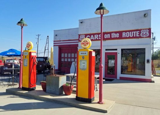 Front with the old gas pumps - Picture of Cars On The Route, Galena