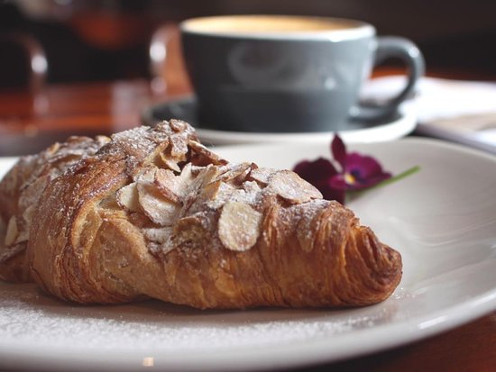 Creel Tackle House & Cafe: Almond croissant and latte; totally delicious