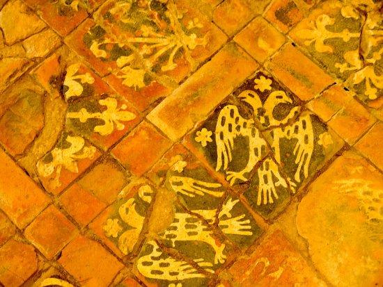 Washford, UK: Detail of the heraldic tiles