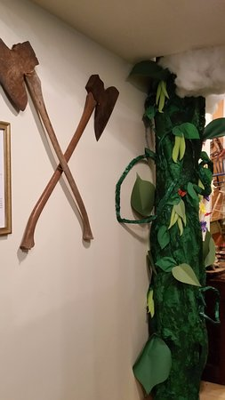 Sandpoint, ID: Jack and the Beanstalk exhibit includes axes from the museum's collection.