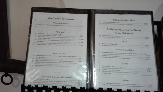 Casarabonela, España: The menu