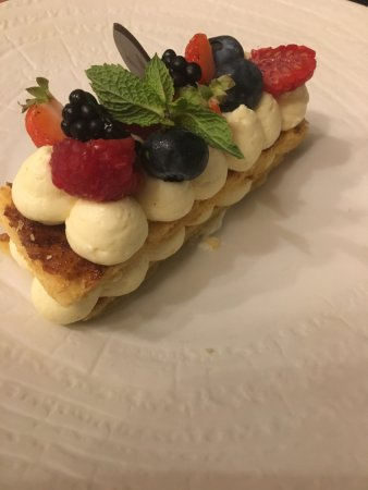 Neydens, France: Mascarpone mille feuilles with red berries as a dessert