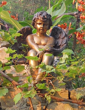 Alma, WI: A garden close up of one of our bronzes