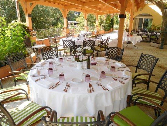 Cuers, Frankrike: Bienvenue ! Notre terrasse ombragée