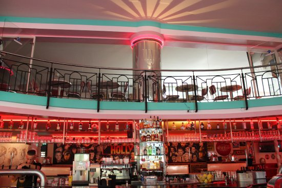 Fabulous Route 66 50s Diner: Route 66 Diner - The wall of Hollywood is behind our Bar! Always sunshine