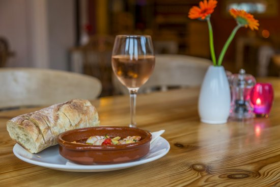 Olive Tree: gambas w a lovely cold glass of rose wine