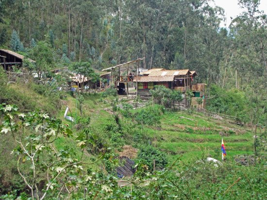 """Cascada de Peguche: according to our guide these are """"hippie"""" cabins near entrance to falls -  not an indiginous vil"""