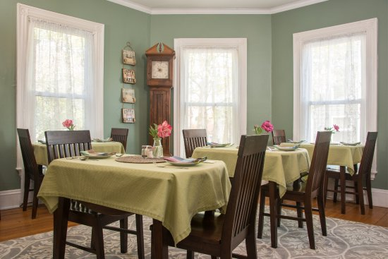 Individual tables for each room at The Chadwick Bed & Breakfast in Portland, Maine