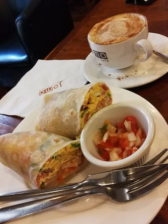 Joma Bakery Cafe : Breakfast Burrito! Don't forget the Cuppuccino!