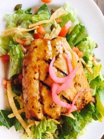 Redmond, WA: Grilled Wild Salmon Tortilla Salad Entree
