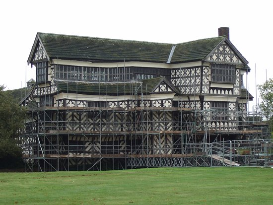 Congleton, UK: Front aspect of Little Moreton Hall with the Long Gallery at the top.