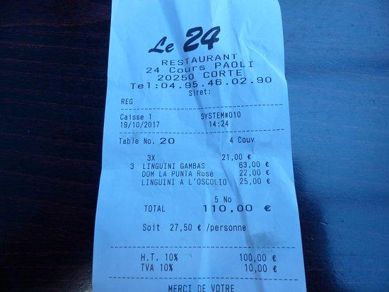 Le 24 : tarif élevé