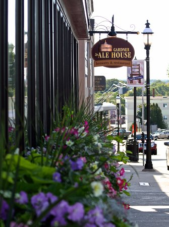 Gardner, MA: The Ale House Facade is a flower garden in summer!