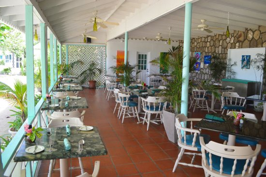 New Castle, Nevis: Indoor Restaurant overlooking the Caribbean Sea