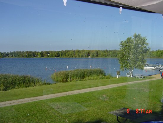 Hamilton's Fox Lake Campground: View from camper. Class A Motor Home