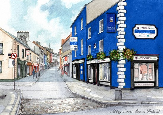 A commissioned painting of The Woollen Market on Abbey Street in Ennis