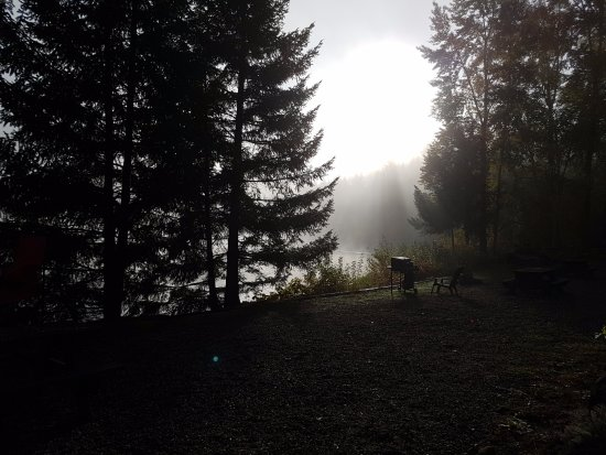 Jasper Way Inn: Foggy morning - lake front view