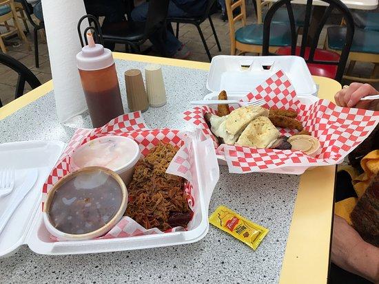 Rexburg, ID: tri-tip sandwich on right; on left, cowgirl (no bread) brisket and original pork w/beans, colesl