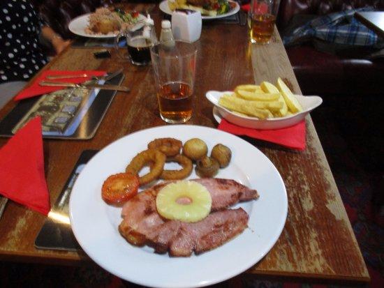 Penycae, UK: Gammon, Cod, jacket potato.