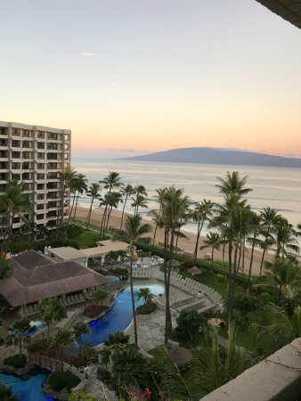 Kaanapali Alii: View from our ocean view 1br condo. Below is the pool area.