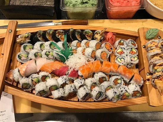 Saline, MI: From Top: Spider roll, California roll, yamyam, Rainbow, Marilyn Monroel and michigan roll combo