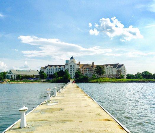 Hyatt Regency Chesapeake Bay Golf Resort, Spa & Marina: View of hotel from the pier