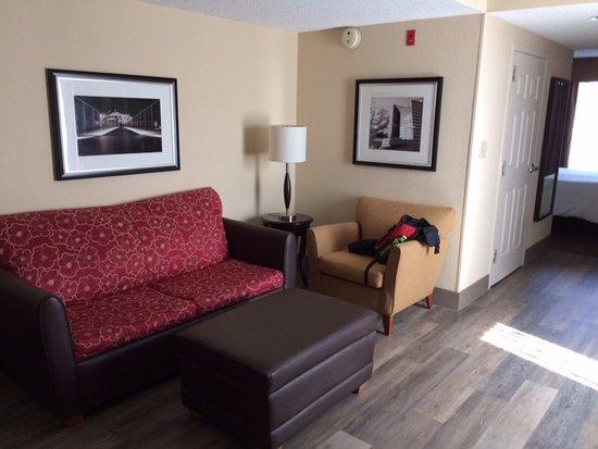 Hilton Garden Inn Chattanooga Downtown: Living area of the room, nice wood floors
