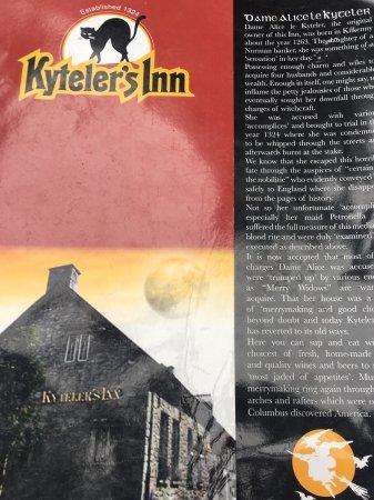 Kyteler's Inn: The menu tells the story of Alice Kyteler. True? Who knows!