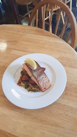Queenstown, Australia: Tasmanian Salmon with Crispy Potatoes and Zucchini Tomato Salsa
