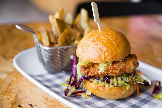 Marrickville, Avustralya: Karaage chicken burger and house cut chips