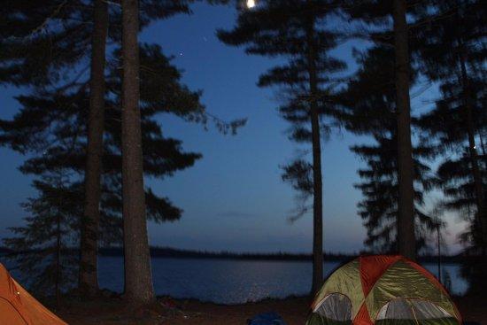 Millinocket, ME: Full moon over Eagle lake Allagash Wilderness Waterway.