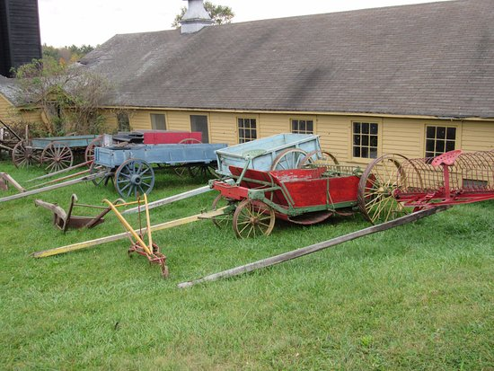 Pittsfield, MA: Assortment of farm implements and wagons at Hancock Shaker village.
