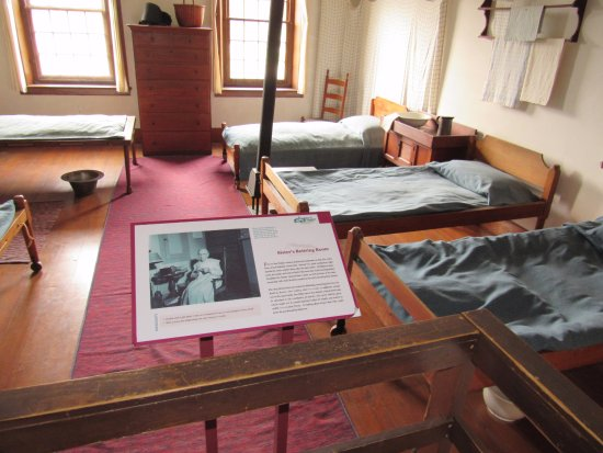 Pittsfield, MA: Sister's Retiring Room inside common house at Hancock Shaker village.