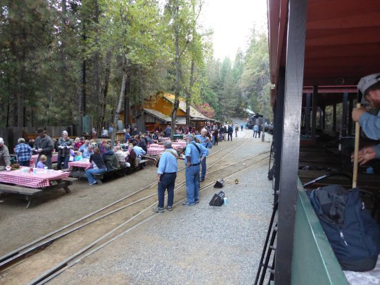Yosemite Mountain Sugar Pine Railroad: View from the last car, dinner set up for Moonlight train