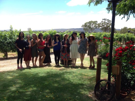 Everyone with their wine with Swan Valley as the backdrop.