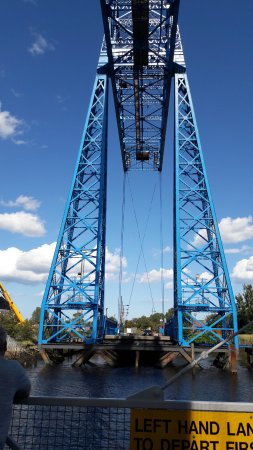 Middlesbrough, UK: View of gantry while crossing.