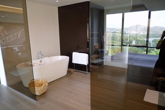 Samodaes, Portugal: View of bedroom and river from bathroom