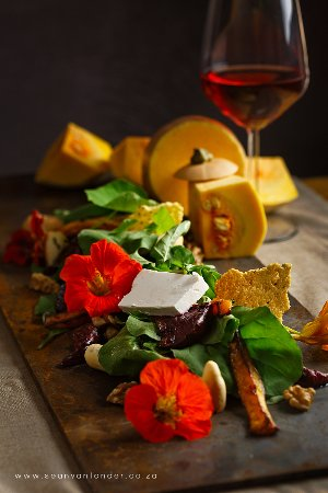 Margate, South Africa: Roasted vegetable salad with greens from the garden accompanied by smooth feta and walnuts
