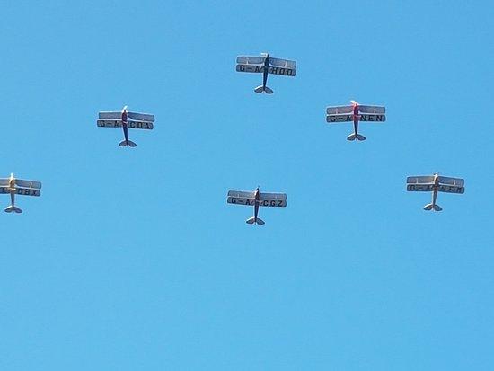 Weybridge, UK: A wonderful De Havilland flypast.