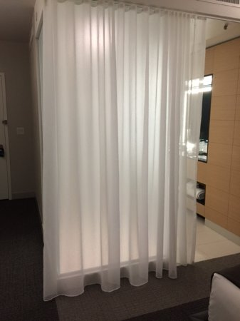 Oxon Hill, MD: Sheer curtain separating bathroom from bedroom. Frosted glass shower directly behind curtain