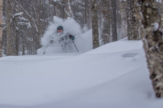 Newry, ME: Skier finds ample snow thanks to Sunday River's boundary-to-boundary skiing.