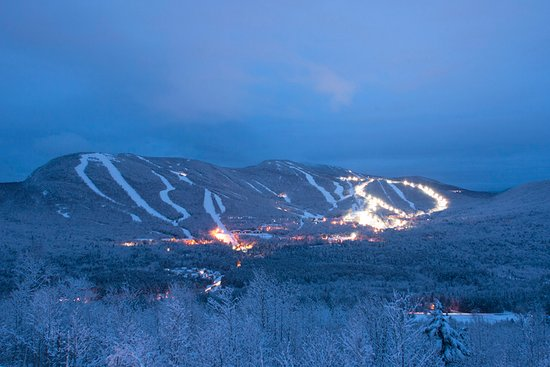 Newry, ME: Night skiing welcomes guests select winter evenings.