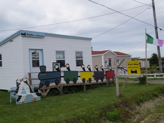 Elliston, Канада: The Puffin Train and Puffin Bench at the front of our shop.