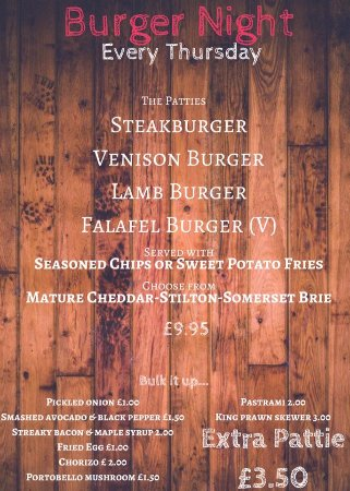 Leominster, UK: Fabulous Burgers,   available also on specials board.